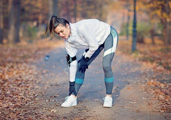 Female runner with injured leg